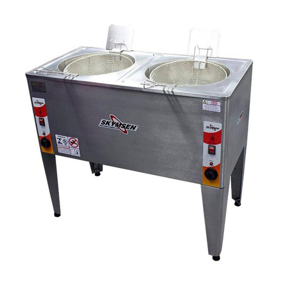 Fritadeira Elétrica Água E Óleo Inox De Piso  Dupla Frp-24D