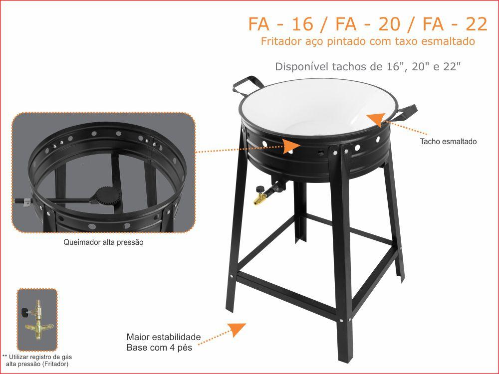 Fritador Alta Pressão Aço Pintado Com Tacho Esmaltado 4 Litros Kenok