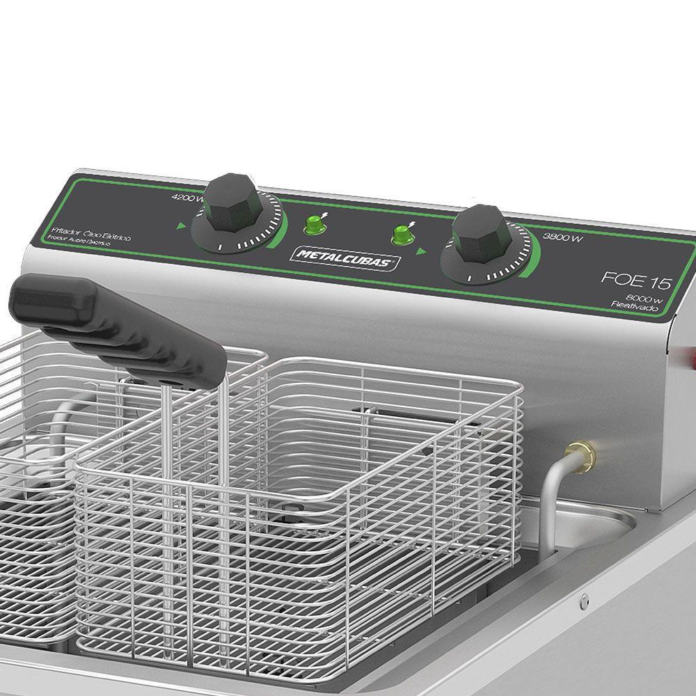 Fritadeira Elétrica 220v Zona Fria de Óleo de Mesa FOE 15 M 8000W Metalcubas