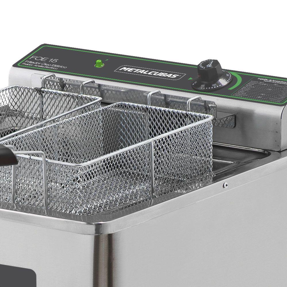 Fritadeira Elétrica Zona Frio de Óleo 15 l de Pedestal 5000W FOE 15 P 127v Metalcubas