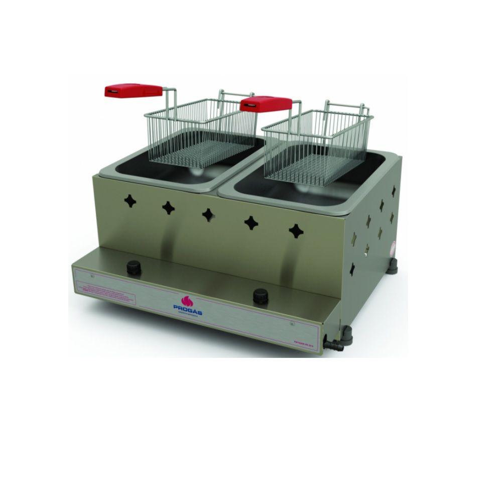 Fritador Retangular 2 Cestos a Gás Alta Pressão 10 Litros PR-20G Progás