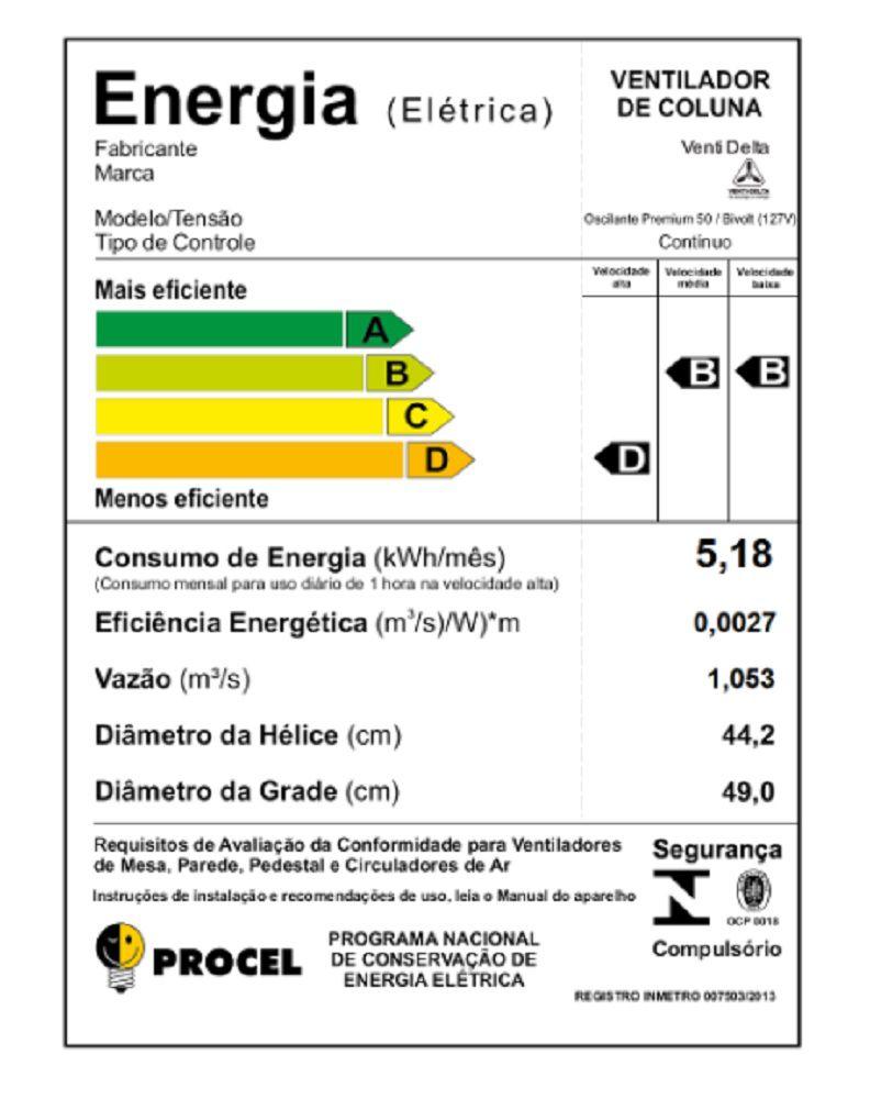 VENTILADOR DE COLUNA (1,30m) PREMIUM 50CM GRADE AÇO 170 WATTS PRETO CROMO VENTI-DELTA