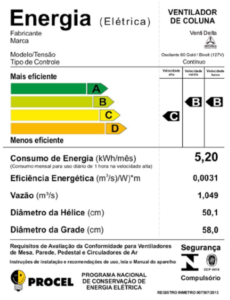 VENTILADOR DE COLUNA (1,40m) GOLD 200W BIVOLT 60CM BRANCO CROMO VENTI-DELTA
