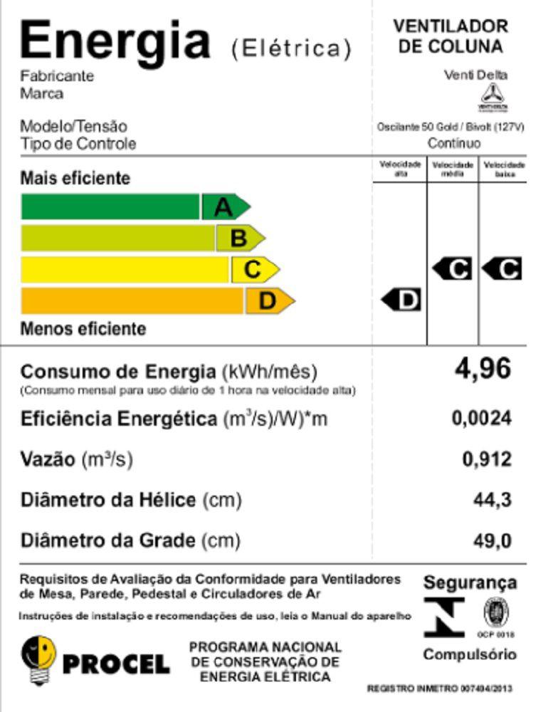 VENTILADOR DE COLUNA 50 CM GOLD 200 WATTS GRADE DE AÇOBRANCO VENTI-DELTA