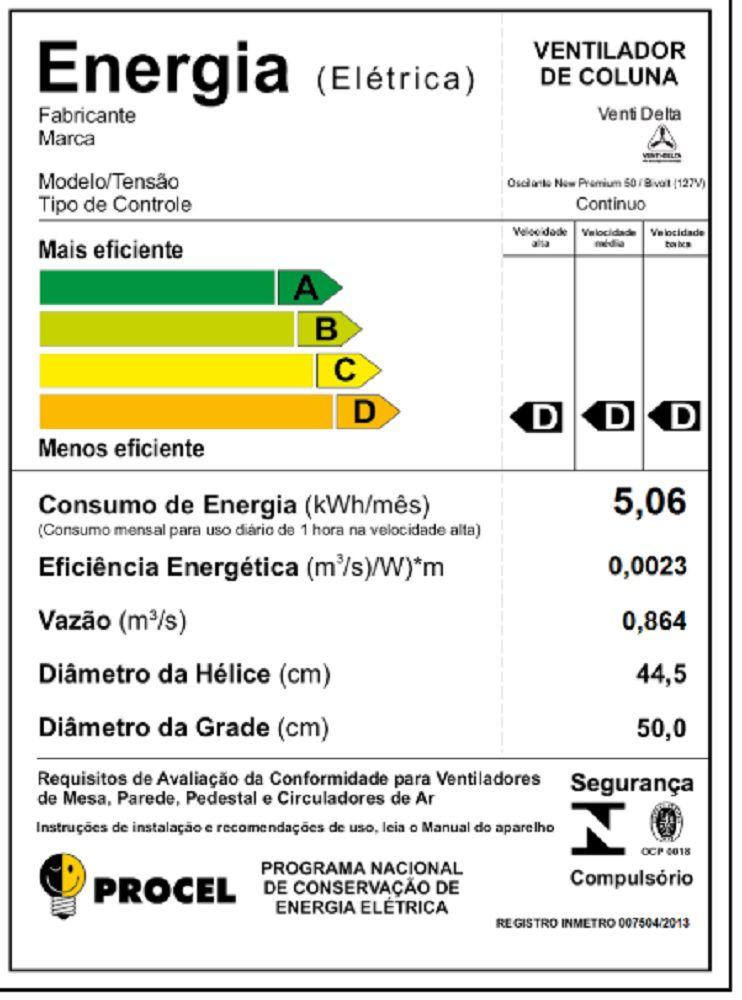 VENTILADOR DE COLUNA 50 CM PRETO 170 WATTS BIVOLT VENTI-DELTA