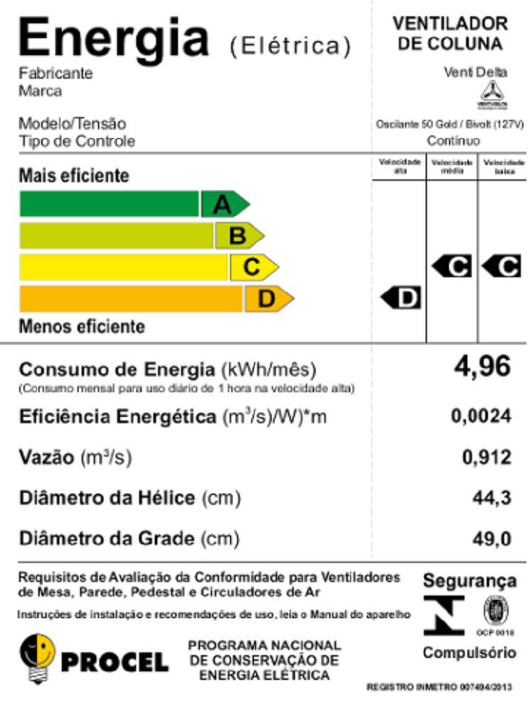 VENTILADOR DE COLUNA (1,30m) GOLD 200W BIVOLT 50CM PRETO CROMO VENTI DELTA