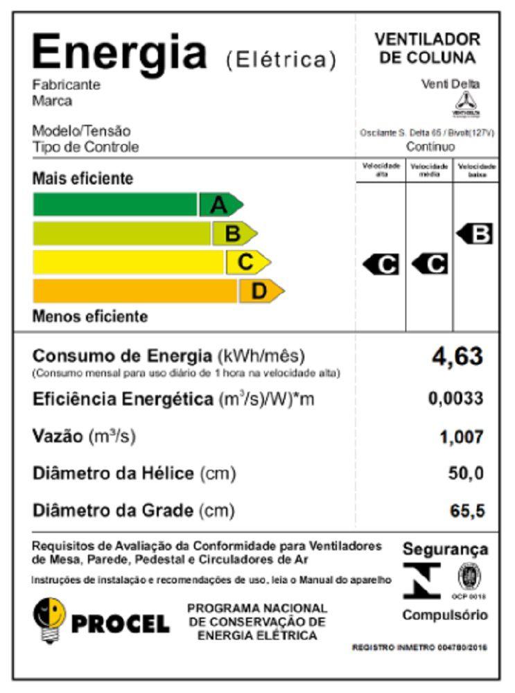 VENTILADOR DE COLUNA SUPER DELTA 65 CM 230 WATTS BRANCO CROMO VENTI-DELTA
