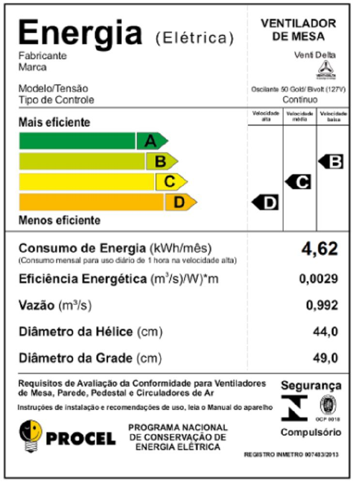 VENTILADOR DE MESA 50 CM GOLD 200 WATTS PRETO/CROMO VENTI-DELTA