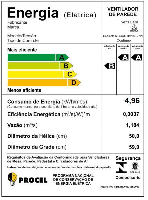 VENTILADOR DE PAREDE60 FIOSGOLD (200 WATTS) 60 CM GRADE DE AÇO PRETO VENTI-DELTA