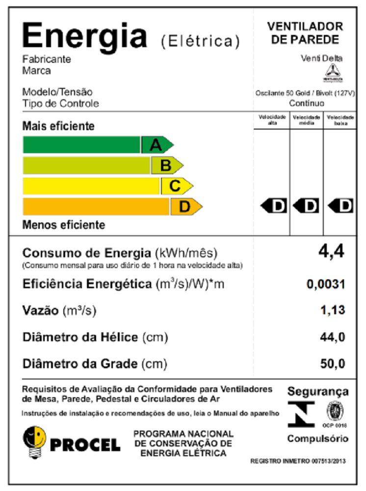 VENTILADOR DE PAREDE GOLD (200 WATTS) 50 CM PRETO/CROMO GRADE DE AÇO VENTI-DELTA