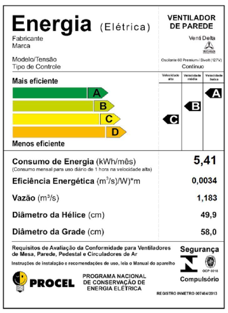 VENTILADOR DE PAREDE PREMIUM(170 WATTS) 60 CM PRETO/CROMO GRADE DE AÇO VENTI-DELTA