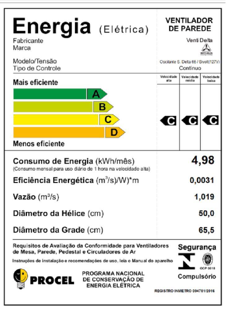 VENTILADOR DE PAREDE SUPER DELTA 65 CM 230 WATTS PRETO/CROMO VENTI-DELTA