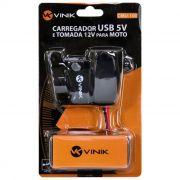 CARREGADOR USB 5V PARA MOTO VINIK 12V / USB 2AMP CMU-100