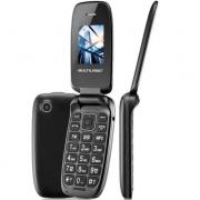 Celular Para Idoso Flip Multilaser P9022 Up Dual Chip MP3 Bluetooth Câmera Radio FM Preto