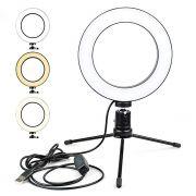 ILUMINADOR RING LIGHT LED COM TRIPE  USB 16CM + BASTAO