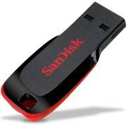 Pen Drive 64GB Sandisk Cruzer Blade Preto e Vermelho