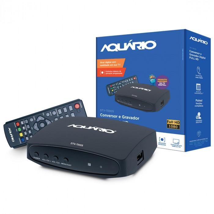 CONVERSOR E GRAVADOR DIGITAL AQUARIO FULL HD P/ TV COM USB E FILTRO 4G DTV-7000S