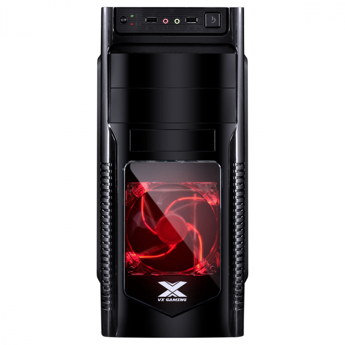 GABINETE GAMER VX GAMING ORION PRETO COM FAN FRONTAL 120MM LED VERMELHO