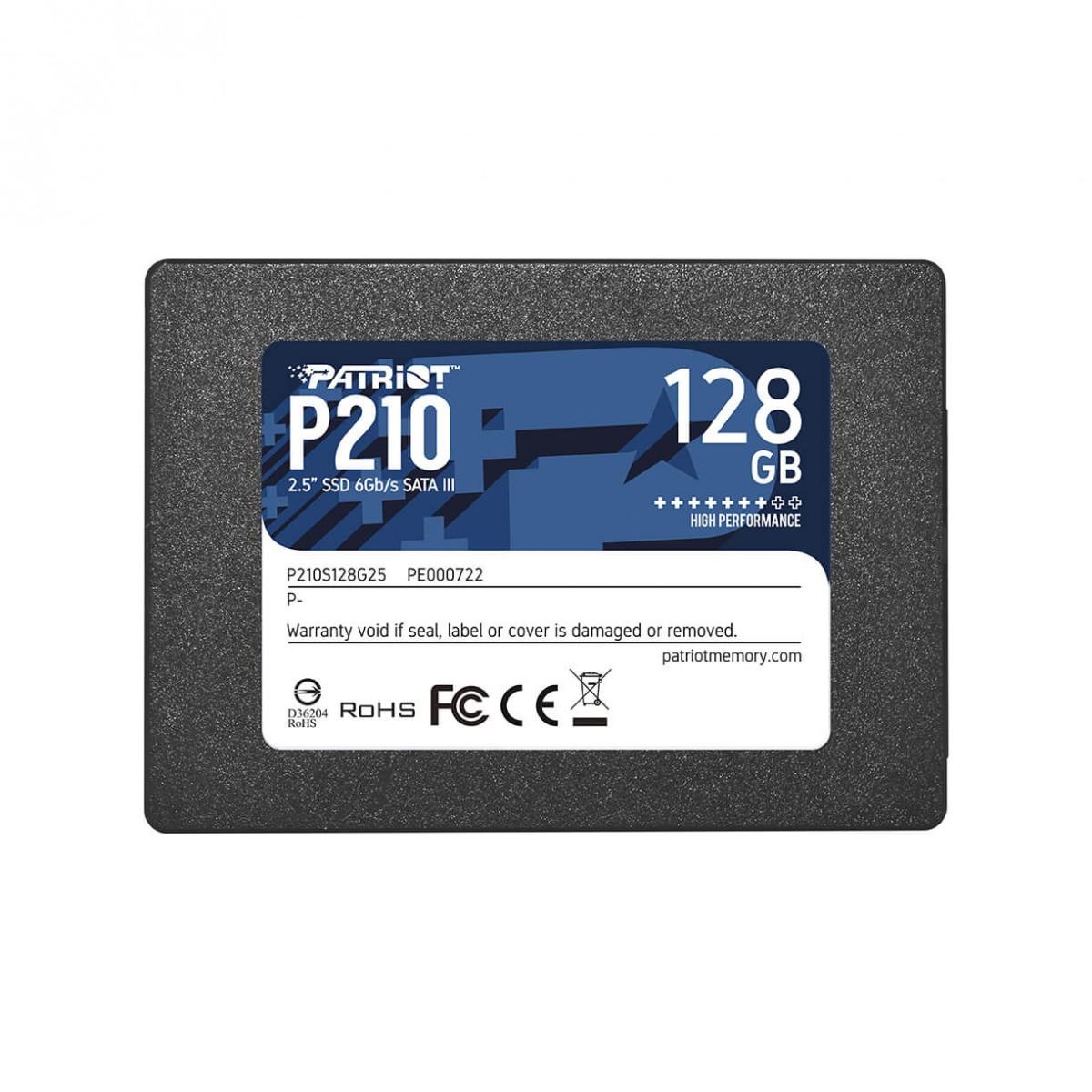 "HD SSD 128GB PATRIOT P210 SATA 3 2.5"" - P210S128G25"