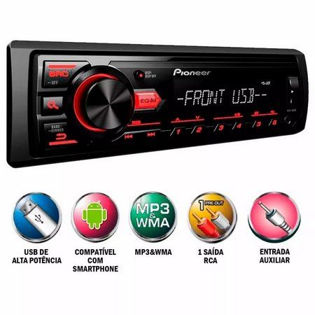 MP3 Player Automotivo Pioneer Mvh-98Ub