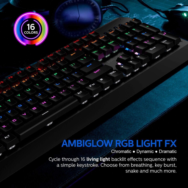 Teclado Philips Gamer Mecânico Luminoso Usb Spk8413