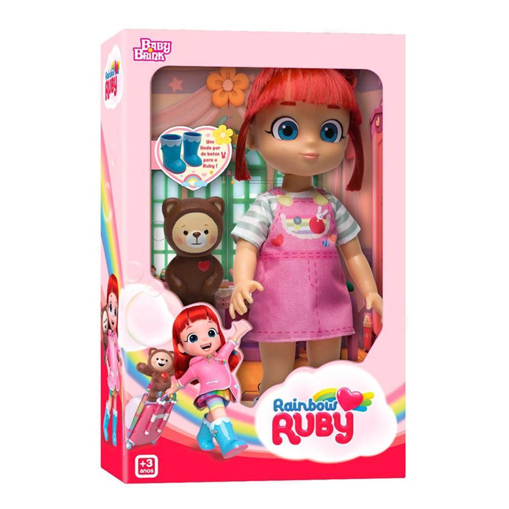 Boneca  Rainbow Ruby com Urso Novabrink