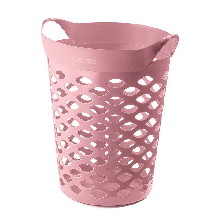 Cesto organizador circular 44L  rosa/ branco Sanremo