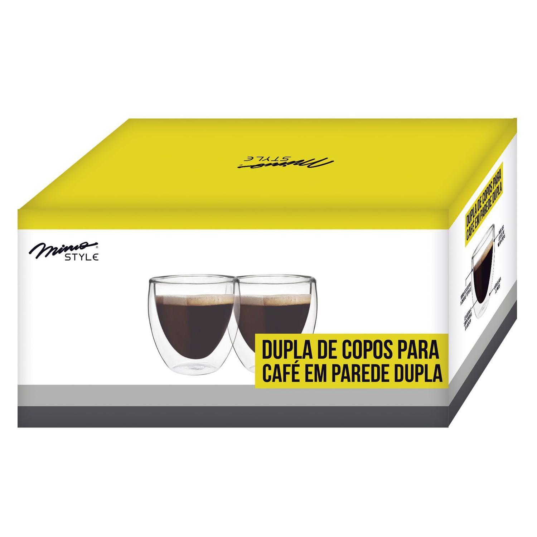 CONJUNTO 2 COPOS VIDRO 80 ML PARA CAFÉ MIMO