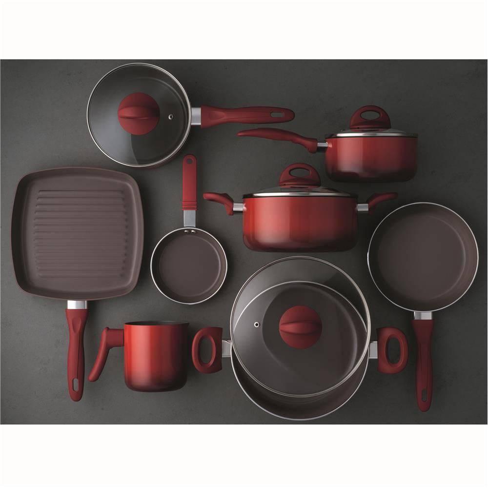 Conjunto De Panelas 8 Pe 231 As Ceramic Vermelho Vanilha