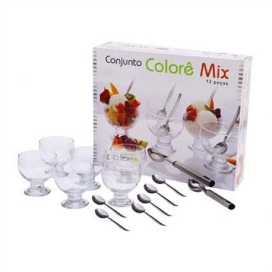 Conjunto para Sobremesa Colorê Mix VIDRO 13 Peças Top Line