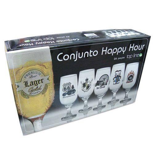 Conjunto Taças Chopp Decoradas  Happy Hour 6PEÇAS TOP LINE