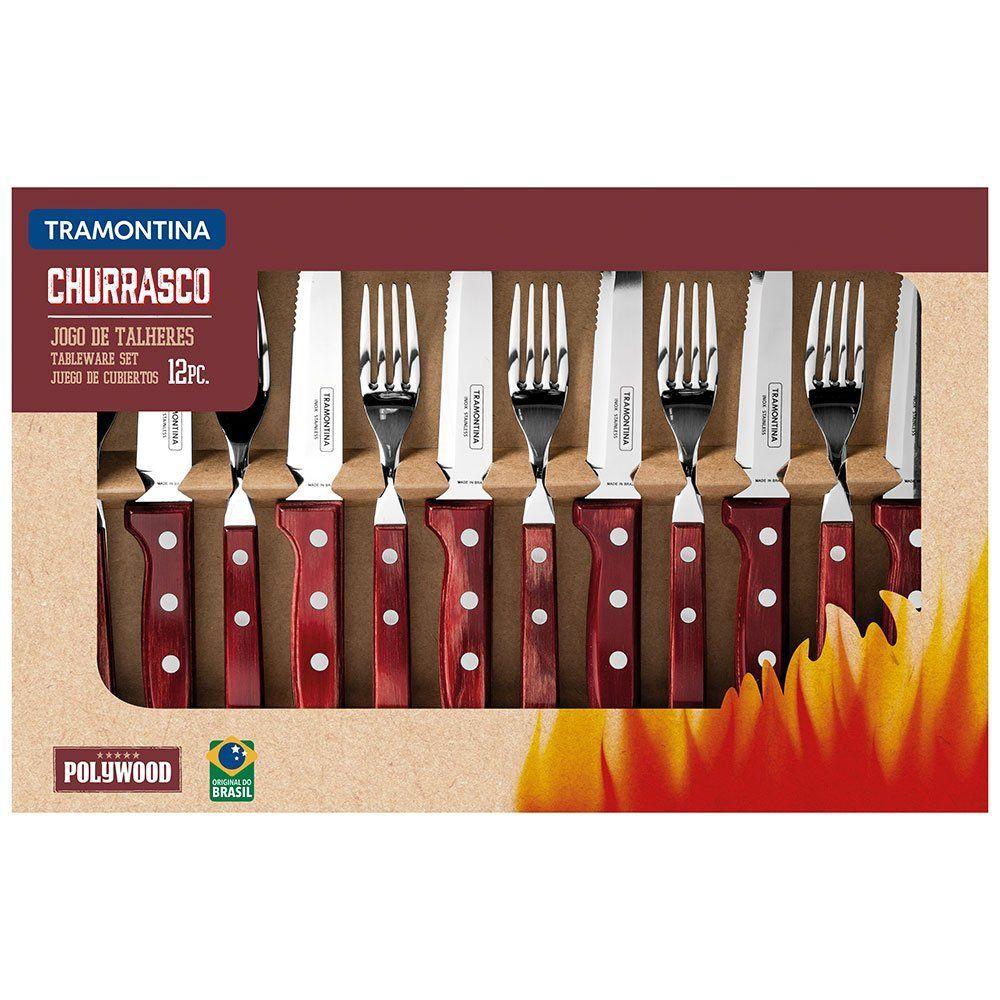 Jogo de Talheres para Churrasco com 12 Peças-TRAMONTINA