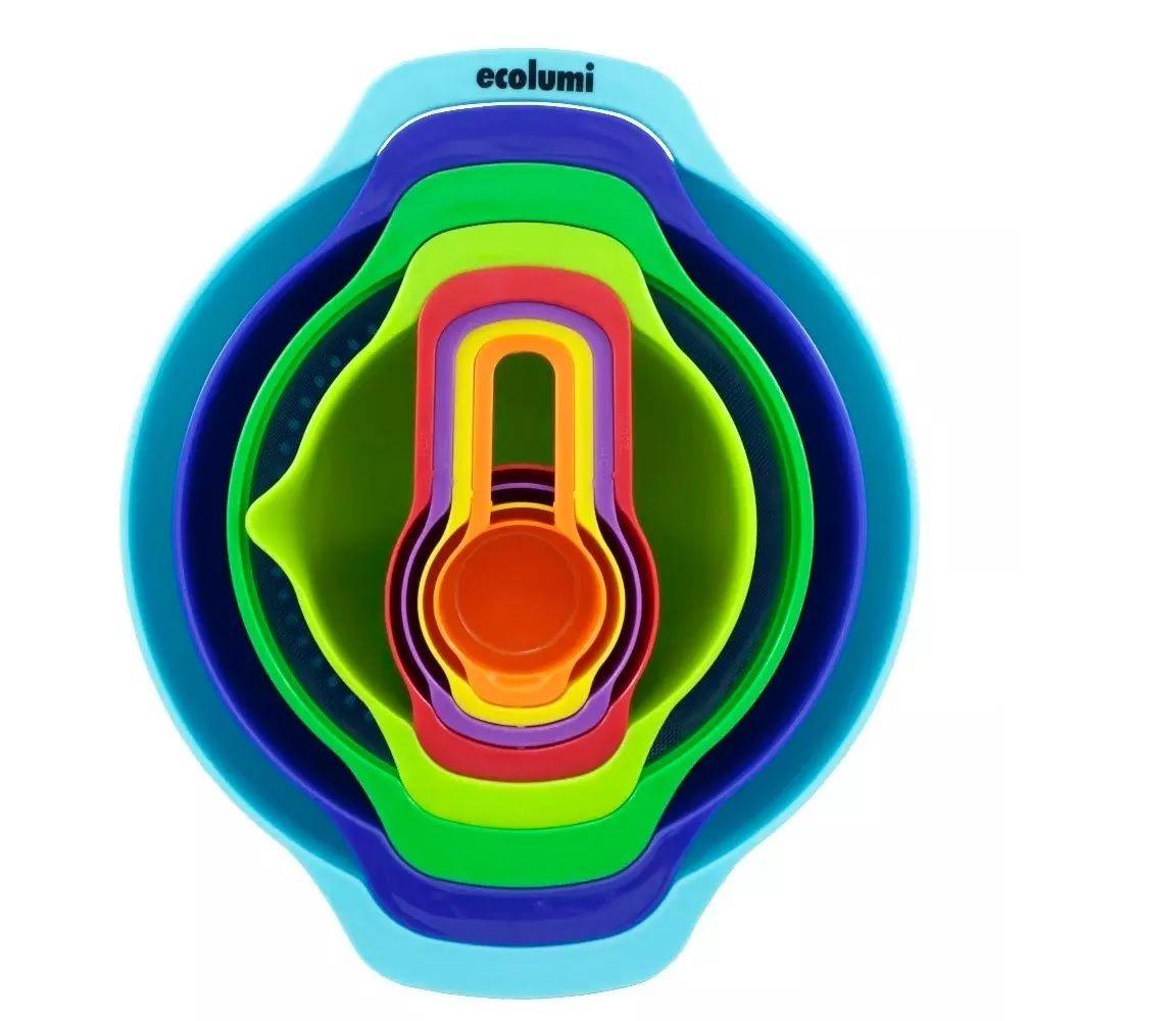 Jogo de Tigela e Medidores acopláveis 8pcs Silicone Eco