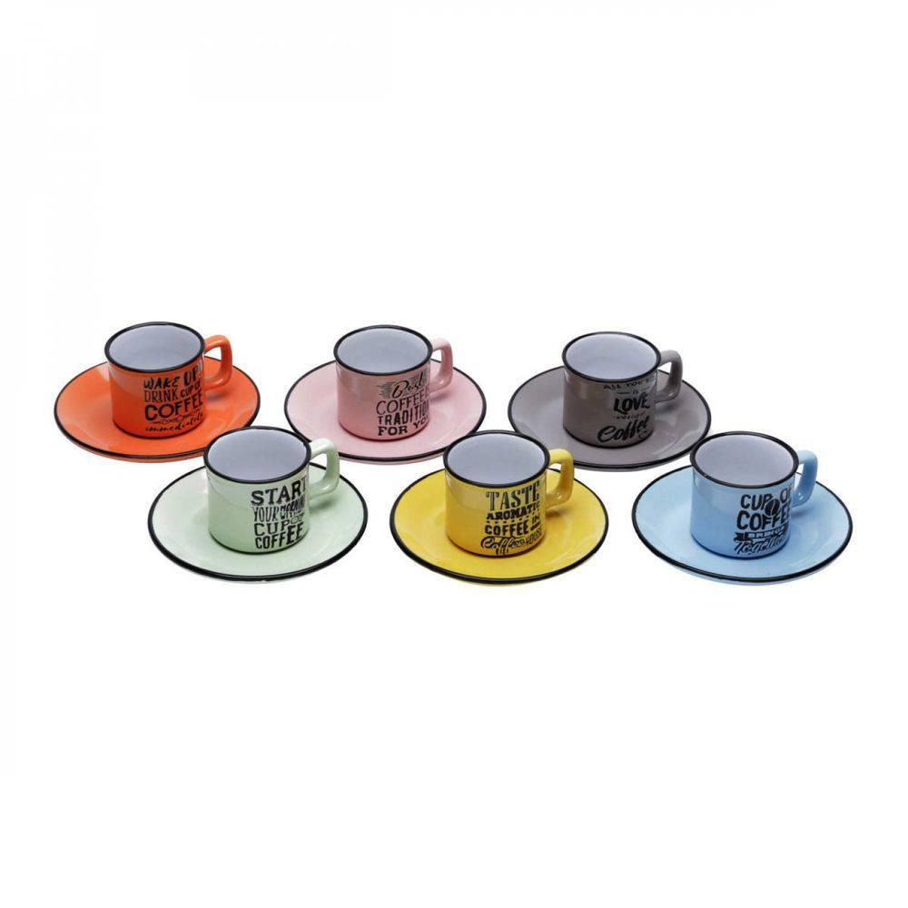 Jogo de Xícaras de Café com Pires Porcelana 12 Peças Rojemac Colorido