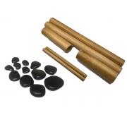 Kit de Pedras Quentes para Massagem e Bambus