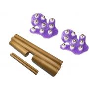 Kit para Massagem Redutora e Modeladora com Kit Bambu e Luvas de Esferas