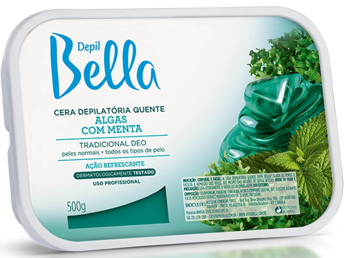 Cera Depilatória Algas com Menta 500g Depil Bella