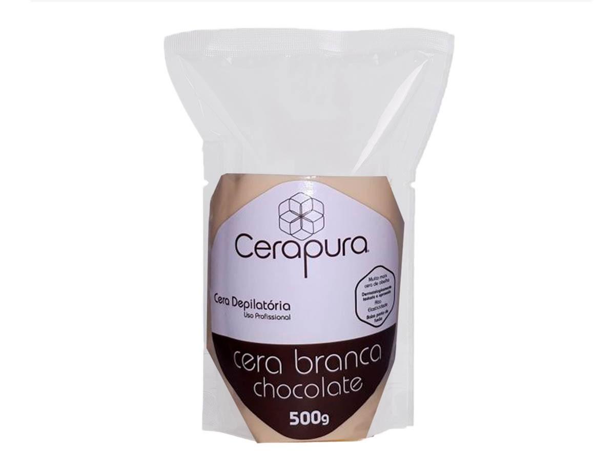 Cera Depilatória Elástica Sistema Espanhol 500g Chocolate Branco Cera Pura