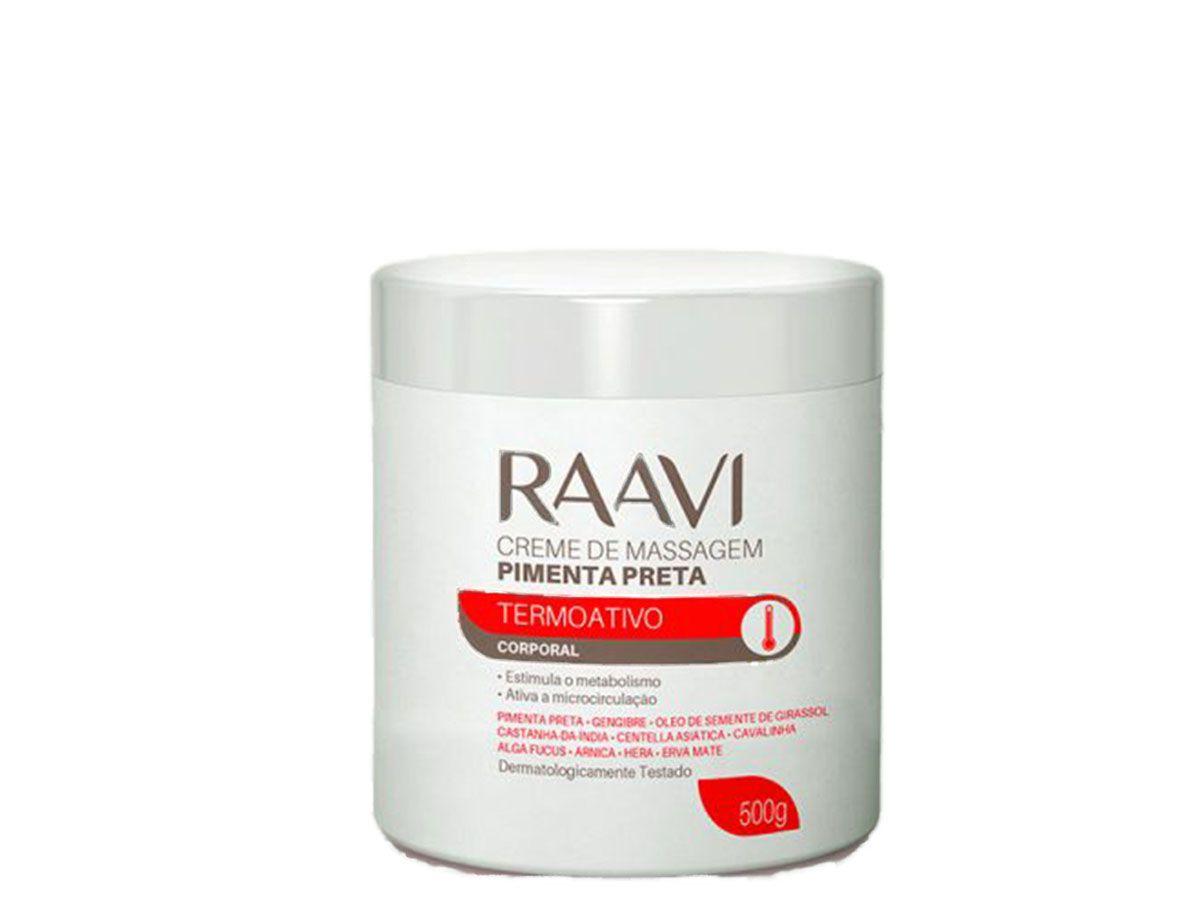 Creme para Massagem de Pimenta Preta 500g Raavi