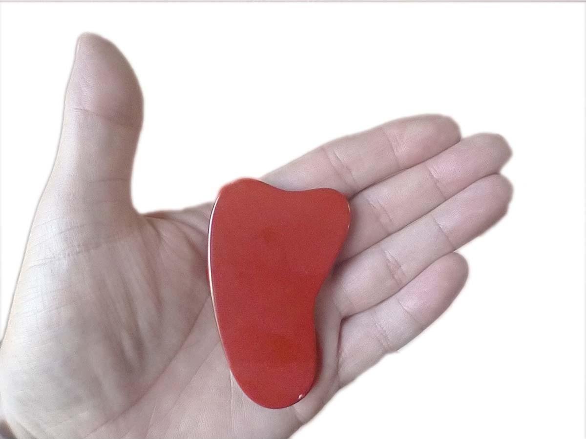 Gua Shá em Pedra Natural Jaspe vermelho NovaBelleza