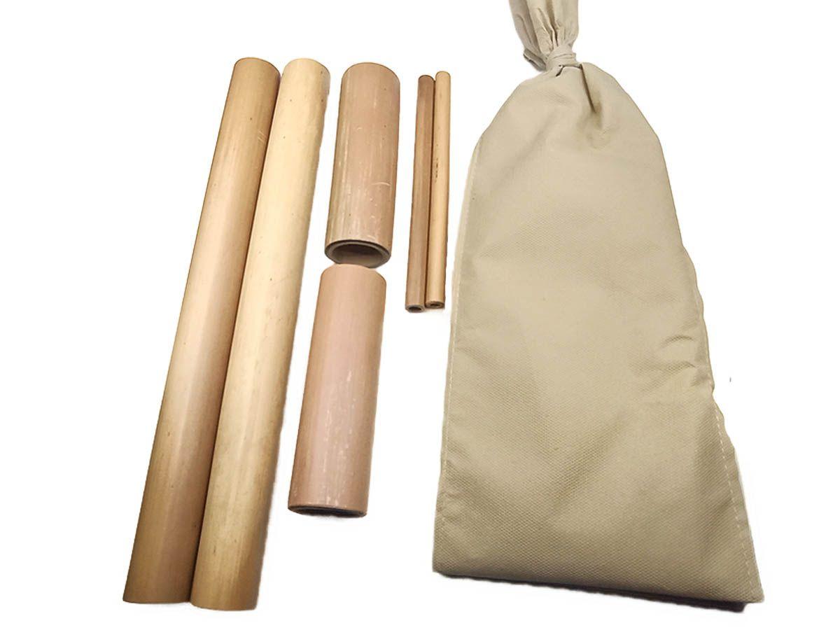 Kit Massagens Modeladora Bambus + Pantalas Mdf + Rolo Rosa