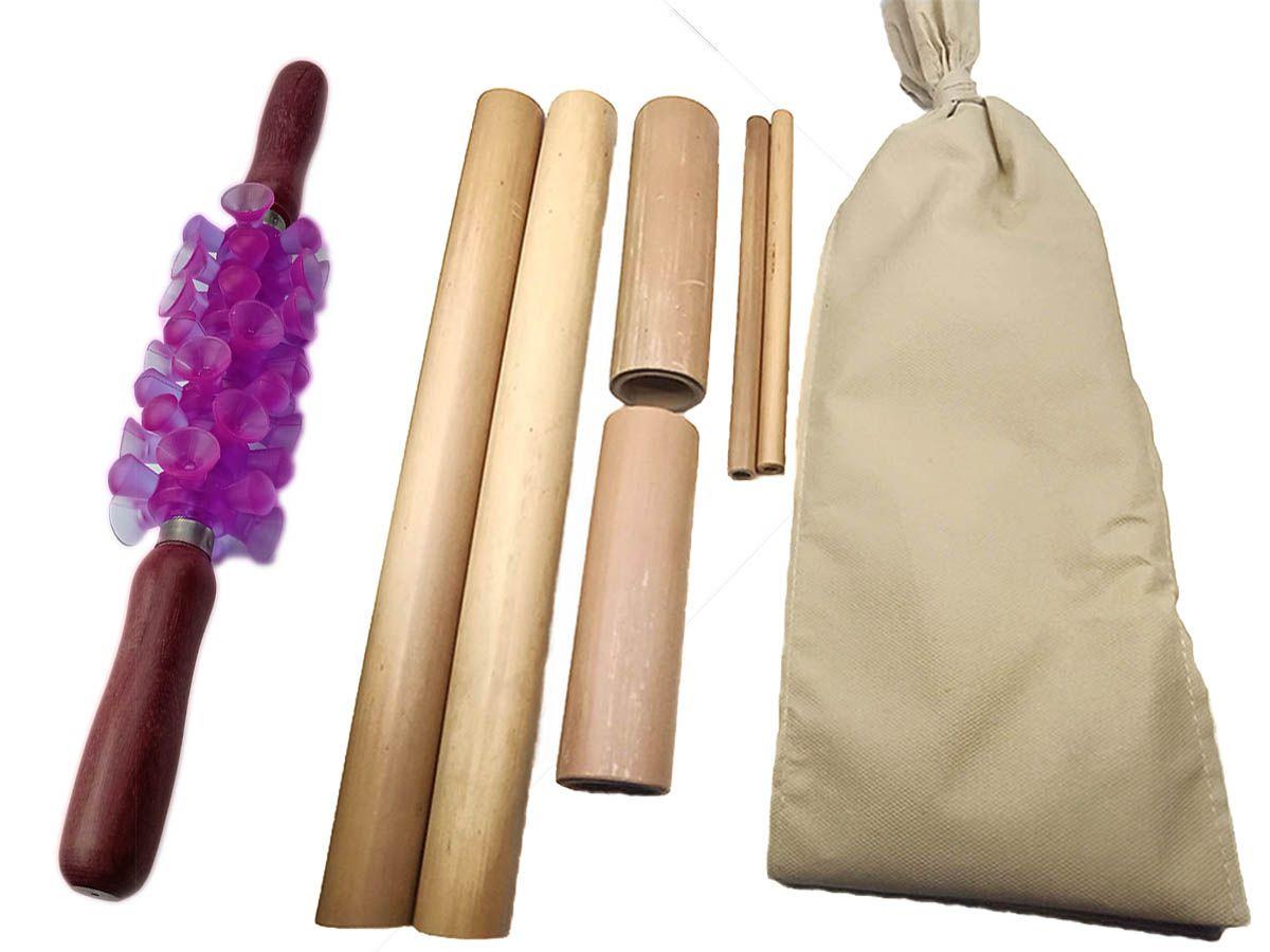 Kit para Massagem com Bambus e Rolo Turbinada Modeladora Lilás