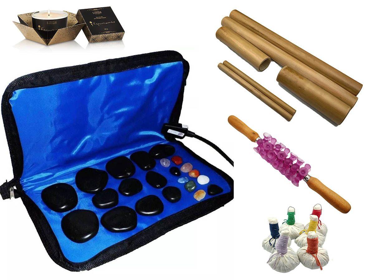 Kit Para Massagens Com Pedras Quentes Bambus Pindas E Vela 110 Volts