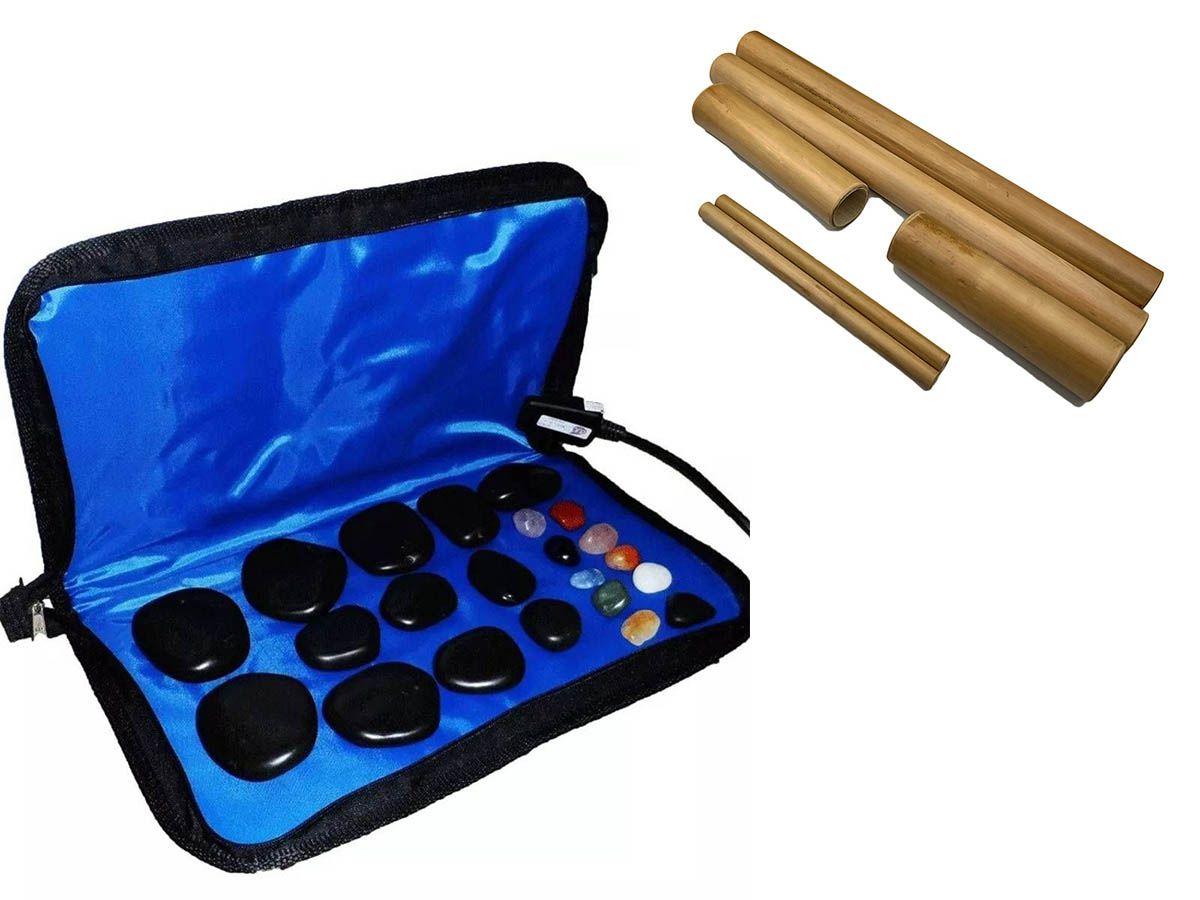 Kit para Massagens com Pedras Quentes e Bambus