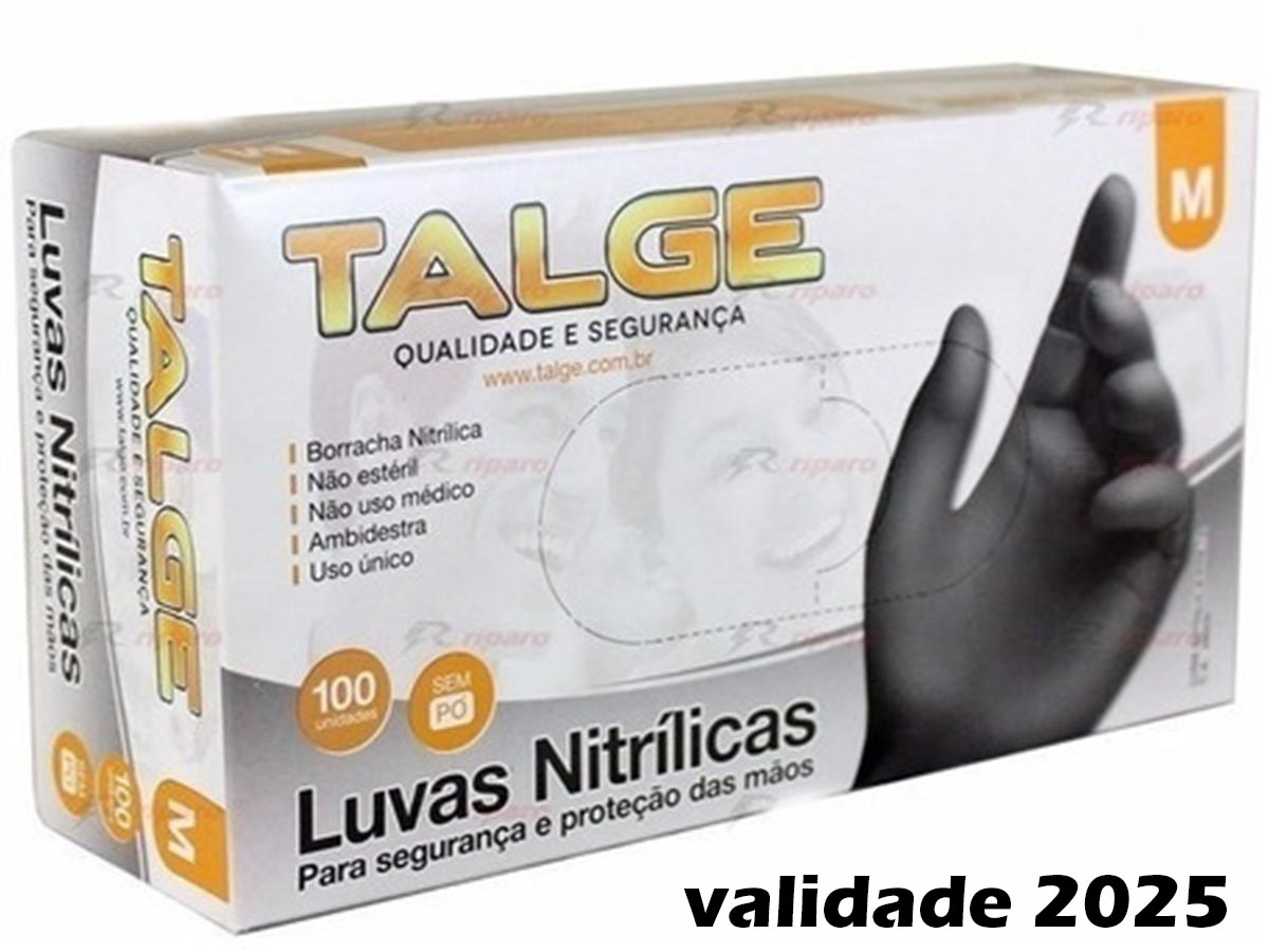 Luva Nitrílica Black Sem Pó 100 Unidades Talge