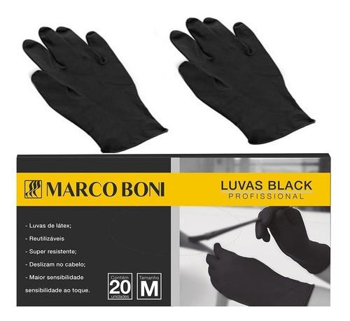 Luva para Cabeleireiro Black Profissional 20 Unidades Marco Boni