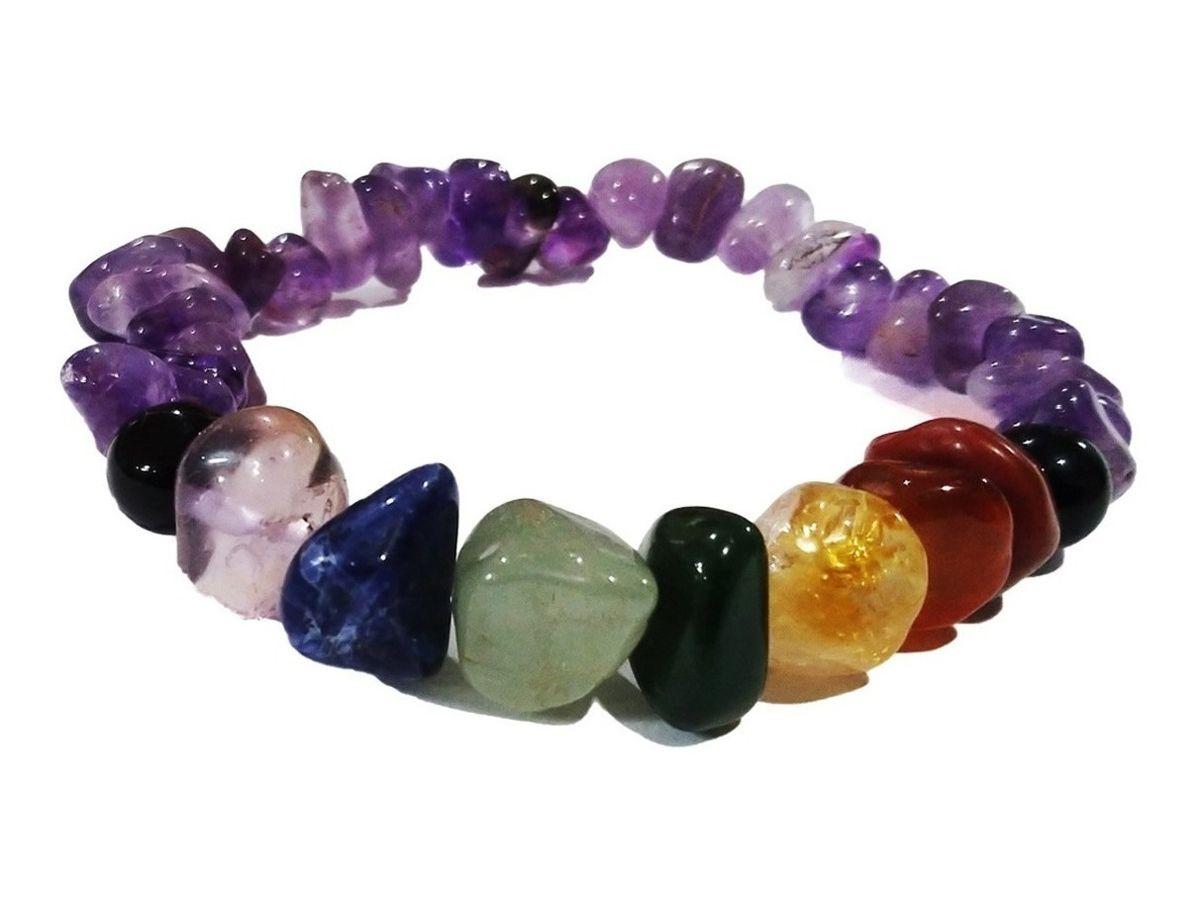 Pulseira Pedras Dos 7 Chakras com Ametista Novabelleza