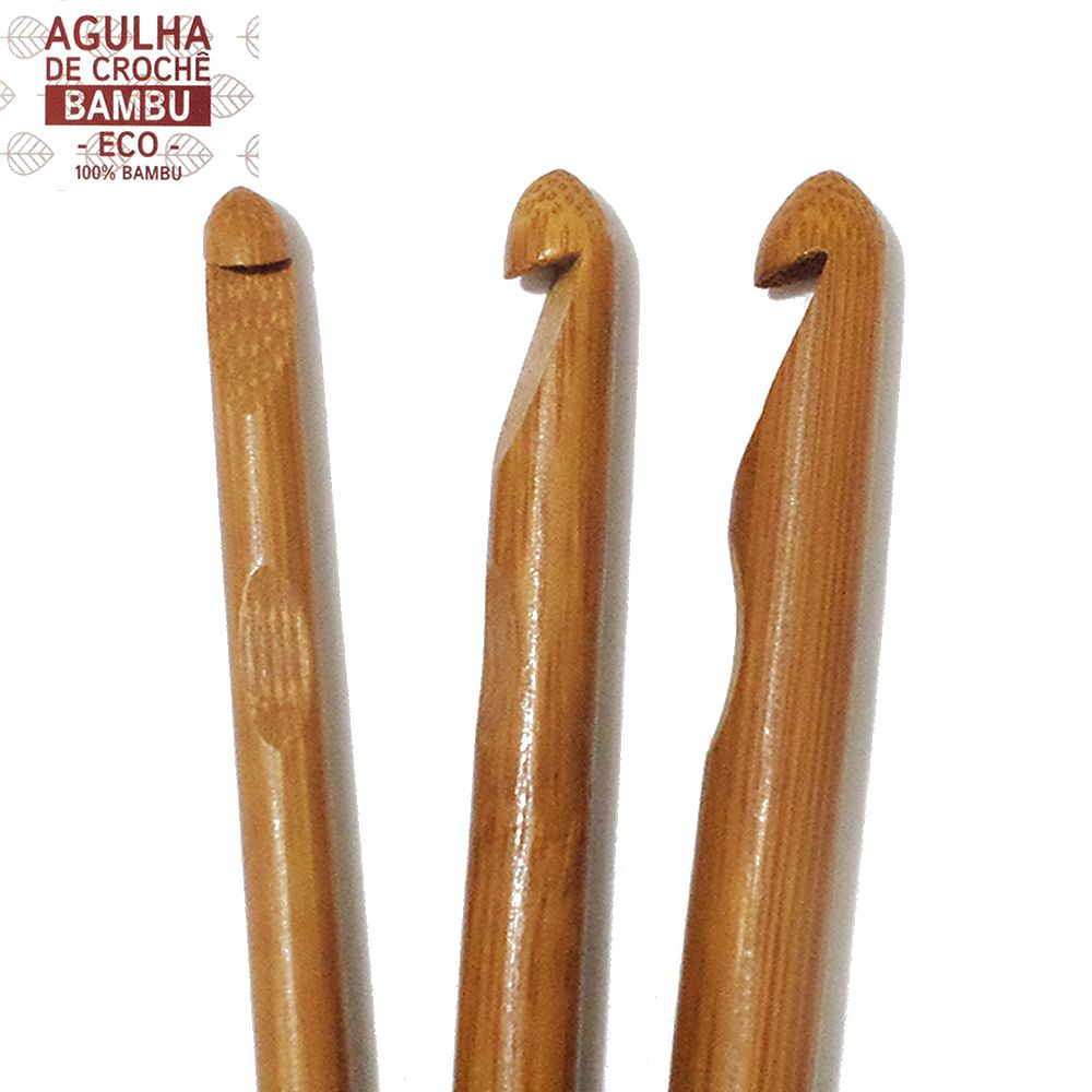 Agulha de Crochê Bambu Eco Circulo 17cm  - Bastex Artesanatos