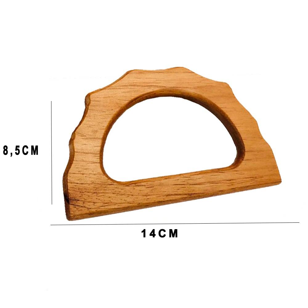 Alça de Mão em Madeira Meia Argola Ondulada 14cm Par  - Bastex Artesanatos