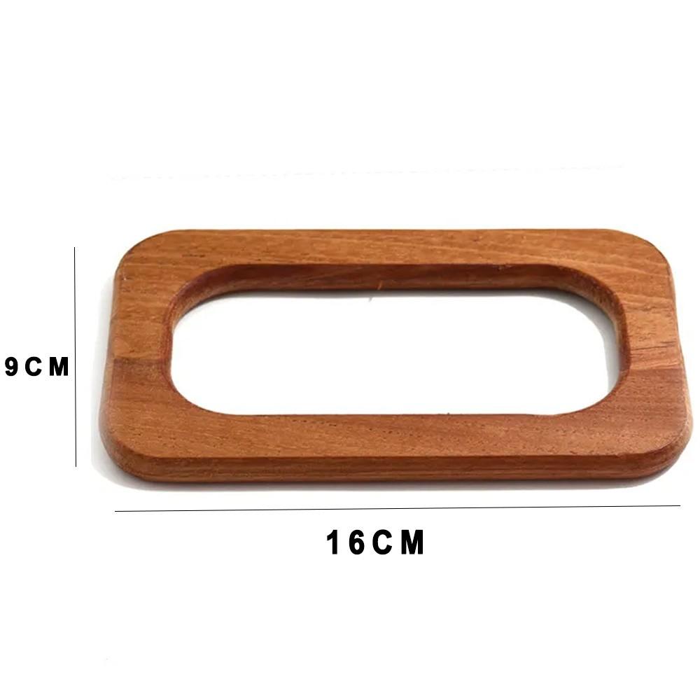 Alça de Mão em Madeira Retangular 16cm Par